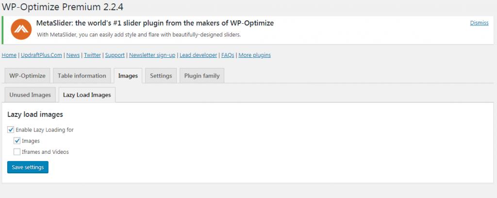 WP-Optimize Images tab->Lazy Load Images sub-tab