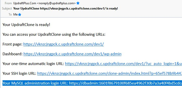 UpdraftClone release new SQL-Admin feature